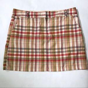 J Crew Favorite Fit Plaid Mini Skirt Sz 14